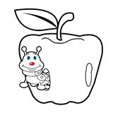 Larva worm and apple cartoon coloring page for toddle. Image of larva worm cartoon coloring page for toddle Stock Photography