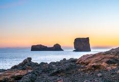 Larven vaggar nära den Dyrholaey bågen i Island Royaltyfria Foton