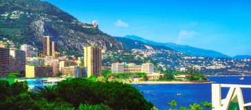 The Larvotto and the sea in Monte Carlo. A beautiful panoramic view of the eastern side of Monaco Royalty Free Stock Image
