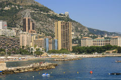 Larvotto Strand in Monaco Stockfotos