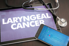Laryngeal cancer (cancer type) diagnosis medical concept on tablet screen with stethoscope.  royalty free stock image