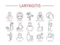 laryngitissen Symptomen, Behandeling Geplaatste lijnpictogrammen Vector Stock Fotografie