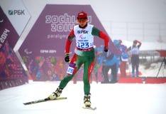 Larysa Varona (Vitryssland) startar på vinterParalympic lekar i Sochi Arkivbild
