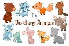 Lasów zwierząt wektorowy clipart na białym tle Śliczne wektorowe ilustracje niedźwiedź, bóbr, lis, królik, rogacz obraz stock