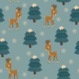 Lasów zwierząt zimy czas wektor bezszwowy wzoru Dzieci « ilustracji