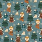 Lasów zwierząt zimy czas wektor bezszwowy wzoru Dzieci « ilustracja wektor