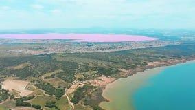 Las盐沼全景鸟瞰图录影,明亮的颜色著名地方桃红色湖 托雷维耶哈市海岸线和 股票视频