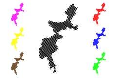 Las áreas tribales federal administradas trazan vector stock de ilustración