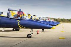 Las abejas bálticas Jet Team con aero- L-39 Albatros acepillan la situación en una pista Foto de archivo