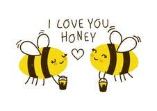 Las abejas lindas de la miel aislaron stock de ilustración