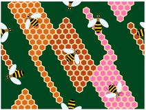 Las abejas que suben en las colmenas coloridas ilustración del vector