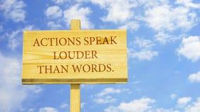 Las acciones hablan más ruidosamente que palabras stock de ilustración