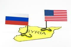 Las acciones militares de los E.E.U.U. y de la Rusia Imagen de archivo libre de regalías