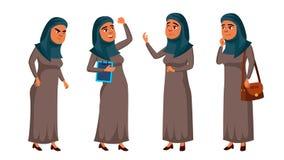 Las actitudes adolescentes árabes, musulmanes de la muchacha fijaron vector Administrador de oficinas positivo Person Para la pos ilustración del vector