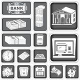 Las actividades bancarias de las finanzas ajustaron iconos Foto de archivo libre de regalías