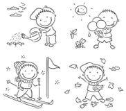 Las actividades del muchacho durante las cuatro estaciones Foto de archivo