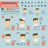 Las actividades y las calorías del deportista quemaron infographics con la comida Fotos de archivo libres de regalías