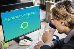 Las actualizaciones de la aplicación actualizan concepto de la nueva versión Imágenes de archivo libres de regalías