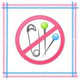 Las agujas, pernos, ningún sostenido se oponen, la señal de peligro Imagenes de archivo