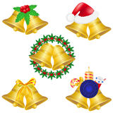Las alarmas de la Navidad fijaron la ilustración del vector de los iconos Imagen de archivo libre de regalías