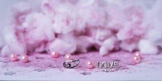 las alas rosadas de las nubes aman el polvo Tulle de la decoración de la boda del brillo Foto de archivo