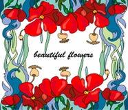 Las amapolas de los Wildflowers dieron formato al texto en un fondo blanco imágenes de archivo libres de regalías