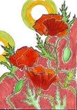 Las amapolas en marrón stock de ilustración