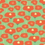 Las amapolas rojas del fondo inconsútil del vector florecen el prado Prado de la amapola en fondo verde Fondo floral retro Mano d libre illustration