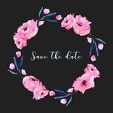 Las amapolas rosadas de la acuarela y las ramas azules enrruellan, mano dibujada aislada en un fondo oscuro Fotografía de archivo