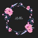 Las amapolas rosadas de la acuarela y las ramas florales circundan la frontera del marco, mano dibujada en un fondo oscuro Fotografía de archivo
