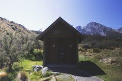 Las amenidades públicas se proporcionan en el glaciar de Tasman y fueron tiradas en formato de paisaje Foto de archivo