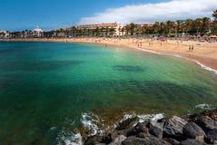 Las Amerika setzen Adeje-Küste Strand in Teneriffa auf den Strand Lizenzfreie Stockfotos
