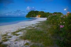 Las Antillas, el Caribe, Antigua, bahía larga, playa en la oscuridad Fotos de archivo libres de regalías