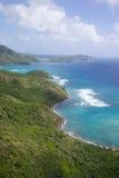 Las Antillas, el Caribe, Antigua, opinión Sugar Loaf Hill hacia punto de los procuradores Foto de archivo