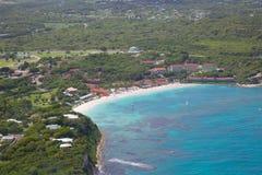 Las Antillas, el Caribe, Antigua, vista de la bahía larga Imágenes de archivo libres de regalías