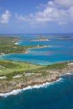 Las Antillas, el Caribe, Antigua, vista de la bahía principal de las sartenes Fotos de archivo libres de regalías