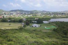 Las Antillas, el Caribe, Antigua, vista de la base del helicóptero en el fuerte James Foto de archivo libre de regalías