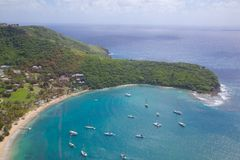 Las Antillas, el Caribe, Antigua, vista del puerto inglés Fotografía de archivo