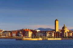 Las Arenas of Getxo seafront and church Stock Photos