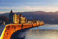 Las Arenas of Getxo seafront at sunset Royalty Free Stock Photos