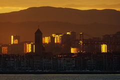 Las Arenas of Getxo at sunrise Royalty Free Stock Images
