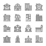 Las arquitecturas alinean el sistema de los iconos stock de ilustración