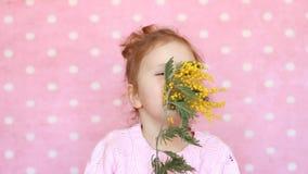 Las aspiraciones de la muchacha del niño de una mimosa florecen y los estornudos Alergia al polen de flores metrajes