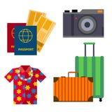 Las atracciones turísticas de visita turístico de excursión del lugar del turismo plano accesorio de los iconos de la vista del v ilustración del vector