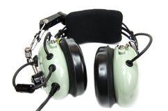 Las auriculares del piloto con el micrófono Imagen de archivo libre de regalías