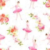 Las bailarinas hermosas bailan y saltan las guirnaldas v inconsútil de la flor stock de ilustración