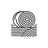Las balas de heno alinean el icono, muestra del vector del esquema, pictograma linear del estilo aislado en blanco Símbolo, ejemp ilustración del vector