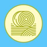 Las balas de heno llenaron el icono del esquema, muestra colorida redonda del vector, pictograma plano circular stock de ilustración