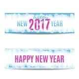 Las banderas de la Feliz Año Nuevo 2017 pican el texto y los copos de nieve Imagen de archivo libre de regalías