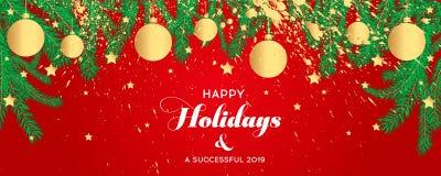 Las banderas de la Navidad fijadas con las ramas del abeto con oro salpican imágenes de archivo libres de regalías